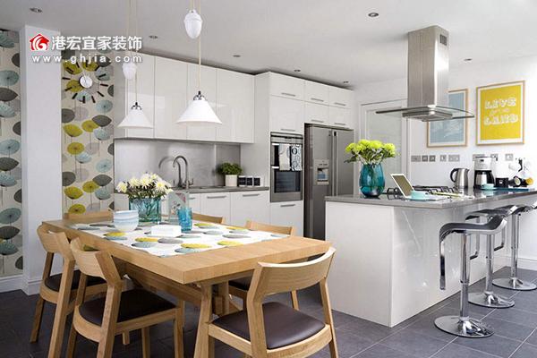 厨房装修设计-开放式厨房效果图-港宏宜家装饰
