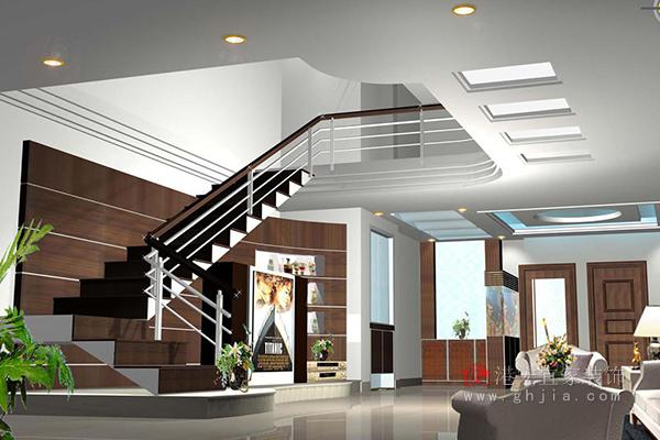 这两张楼中楼装修效果图,楼梯扶手设计充满了现代感,又不是典雅