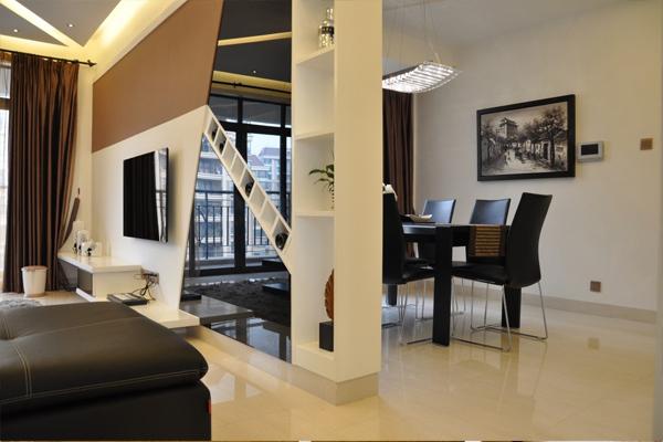 客厅隔断装修效果图赏析,重庆港宏宜家装饰真实案例展示